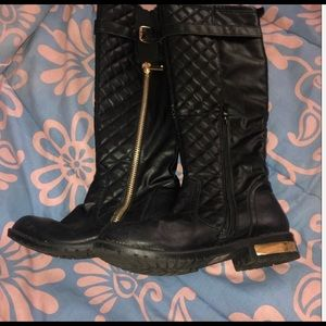 Girls black knee high boots